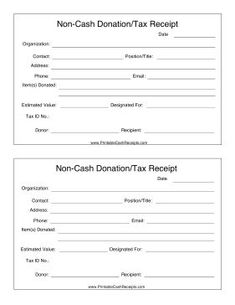 If You Make A Non Cash Donation Such As Clothing, Furniture, Equipment Or  Donations Template