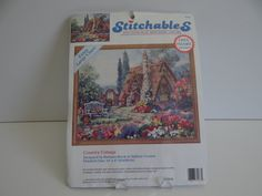 """Stitchables Country Cottage Crewel Kit with Preprinted Design - 10"""" by 8"""" - Extra Large Chart - Cottage - Garden - Bench - Flower Garden by SecondWindShop on Etsy"""
