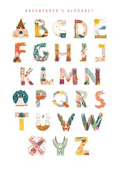 8 Mar 2020 - The Adventurer's Alphabet Alphabet Art, Animal Alphabet, Letter Art, Animal Letters, Types Of Lettering, Hand Lettering, Palette Pastel, Creative Typography, 36 Days Of Type