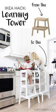 - Furniture for Kitchen - { IKEA hack } DIY learning tower using the inexpensive IKEA BEKVÄM stool - tuto. { IKEA hack } DIY learning tower using the inexpensive IKEA BEKVÄM stool - tutorial with loads of pictures + step-by-step instructions. Hacks Ikea, Diy Hacks, Ikea Hack Kids, Banco Ikea, Bekvam Stool, Ikea Bekvam, Ikea Stool, Diy Stool, Ikea Hack Chair