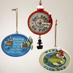 "$154.99-$189.99 Fishing-Themed Inscribed Christmas Ornaments Item #H2858  Each ornament is brightly colored and features one of three fishing-themed inscriptions Ornament inscriptions include: ""Get Reel/Go Fish,"" ""Merry Fish-Mas,"" ""Fishing Is Always Better On The Other Side Of The Lake!"" One-sided, flat backed ornaments Ornaments come ready-to-hang on gold ribbons  Dimensions:  Material(s): man- ..."
