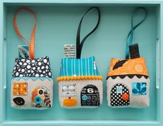 Adorable hand sewn Halloween Houses - so easy to switch out the fabric for any season or holiday