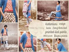 This playful ensemble is a fun mix of prints and colours. A long, indigo, block-printed overcoat has been paired with a vibrant rust and beige kurta. Adding some more quirk is a lovely pair of grey, Ikat, ankle length pants. #indianbychoice