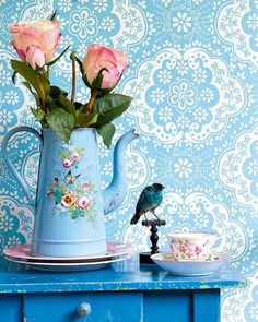 #flowers #bird #blue #vintage #roses #teacup #pot