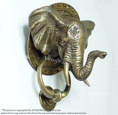 """7.08"""" Vintage Mammoth elephant head Door Knocker Brass Door Knocker"""