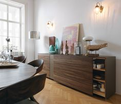 Wharfside Furniture   Cubus Pure - coloured glass and wood sideboard   designed by Team7