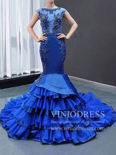 Vintage Royal Blue Beaded Mermaid Prom Dresses Cap Sleeve Pageant Gown – Viniodress