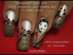 Vintage Newspaper Nails - Geisha & Cherry Blossoms