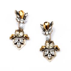 Fashion Jewelry 2014 Crystal Hot-selling Women Dress Earrings of Gold Plated Candy Color Shourouk Big Stud Earrings $6.68