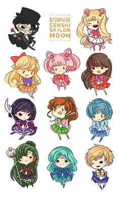 8.5x5.5 sheet of self cut stickers of all your favorite sailor senshi in all their seifuku magic girl goodness!