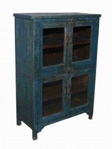 Blue Teak 2 Door Cabinet Primitive Furniture, Antique Furniture, Cabinet Dimensions, Indian Furniture, Cabinet Furniture, China Cabinet, Teak, Dining Room, Doors
