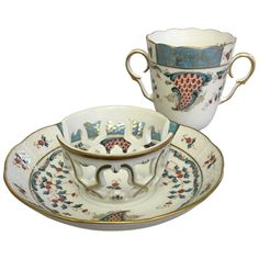 Herend Cornucopia 'TCA' Chocolate Cup and Saucer - Blue, White & Red w/ gold - Herend Trembleuse - circa - Hungarian Hand Painted Porcelain Cup & Saucer Silver Tea Set, Chocolate Cups, Vintage Cups, China Tea Cups, Tea Service, Tea Cup Saucer, Handmade Pottery, Tea Party, Hand Painted