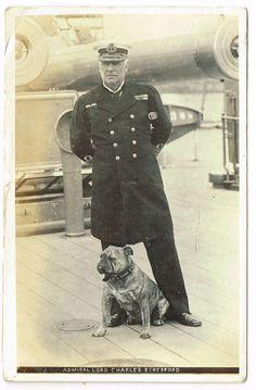 OLD POSTCARD ADMIRAL LORD BERESFORD & PET BULLDOG REAL PHOTO VINTAGE USED 1907
