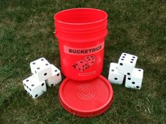 Ok, I want to make my own set.  I'm thinking Christmas gifts for next year!  BucketDice Yard Game. $39.95, via Etsy.