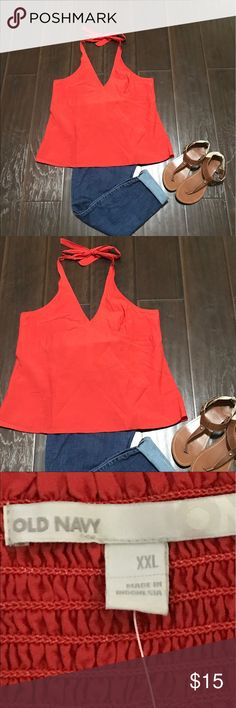 NWT old navy halter top Orange halter-ish top. Light weight nwt.  (Smoke/pet free home. Accessories not included.) Old Navy Tops Tank Tops