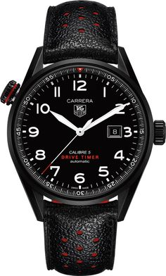 @tagheuer  Watch Carrera #bezel-fixed #bracelet-strap-leather #brand-tag-heuer…