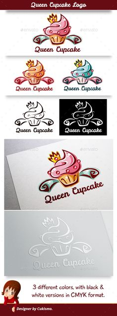 Queen Cupcake Logo - Food Logo Templates Download here : http://graphicriver.net/item/queen-cupcake-logo/15773730?s_rank=139&ref=Al-fatih