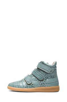Maison Martin Margiela|Crocodile Print 3 Strap High Top Leather Sneakers in Sage