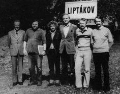 #JaraCimrman - J.Vozáb, J.Hraběta, L.Smoljak, Z.Svěrák, P.Brukner and J.Weigel in front of Liptákov