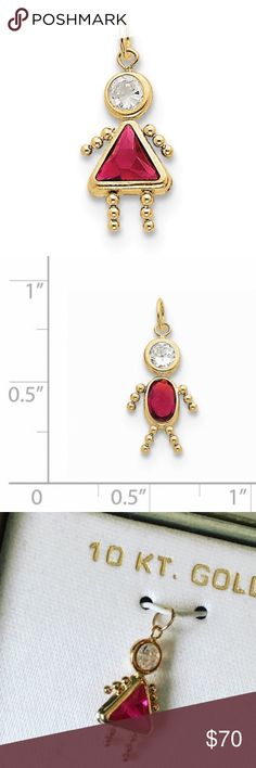 """Birthstone Babies Girl Charm July 10K Gold Brand: unbranded  Material: 10K gold  Measures about .75"""" long.   Pendant measures about .75"""" long.   Pendant to put on your own chain necklace or bracelet. Does not come with a chain. Jewelry"""