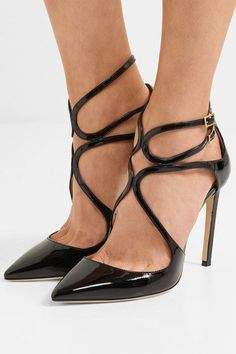 Jimmy Choo | Lancer 100 cutout patent-leather pumps | NET-A-PORTER.COM