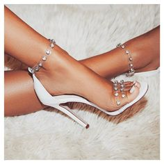 Leonie Gem Embellished Perspex Heel In White Faux Leather. Sign up to newsletter for 15% off discount. #egosquad #egoofficial #shoes #shoesoftheday #fashion #fashiontips #onlineshoes #shoelover #showmyshoes #strapsandals #highheels
