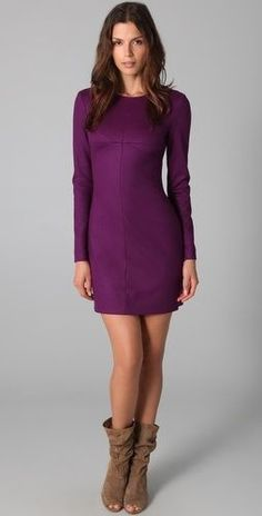 $419 NWT DIANE VON FURSTENBERG Lee Mini Dress sz 4 Deep Plum #DVF