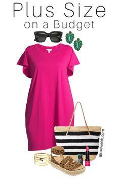 Plus Size on a Budget – T-Shirt Dress Outfit – Alexa Webb Plus Size on a Budget – Pink T-Shirt Dress Outfit with Palm Leaf Earrings, Straw Tote Bag, and Leopard Espadrille Sandals – Alexa Webb Black Women Fashion, Curvy Fashion, Plus Size Fashion, Womens Fashion, Petite Fashion, Fall Fashion, Style Fashion, Shirtdress Outfit, Moda Chic