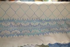 My Swedish Weaving afghan. I don't have fringe made yet Swedish Weaving Patterns, Chicken Scratch Embroidery, Swedish Embroidery, Monks Cloth, Embroidery Needles, Diy And Crafts, Stitch, Antiques, Lavander