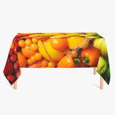 Tafelkleed Lekker gezond | Fleur je keuken op met dit weerbestendige tafelkleed bestaande uit geweven linnen met PVC.   #tafelkleed #keukentextiel #keuken #kleed #pvc #print #opdruk #tafel #weerbestendig #groente #groentes #fruit #gezond #paprika #sinaasappel #banaan