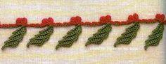 """Crochet+y+dos+agujas:+Linda+guarda+/+puntilla+""""muérdago+de+Navidad"""""""