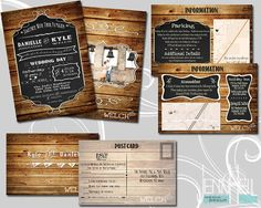 Rustic | Country Wedding invites, Info & RSVP cards!