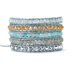 Ice Blue Agate Crystal Leather Wrap Bracelet *** Click image to review more details.