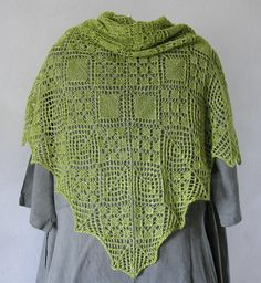 Luminita Shawl by Jolanta Zwierzchowska, knitted by DominiqueBe   malabrigo Silkpaca in Lettuce