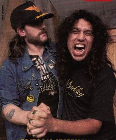 Lemmy of Motorhead and Tom of Slayer Music Love, Music Is Life, Hard Rock, Metal Bands, Rock Bands, Kerry King, Tribute, Music Memes, Thrash Metal