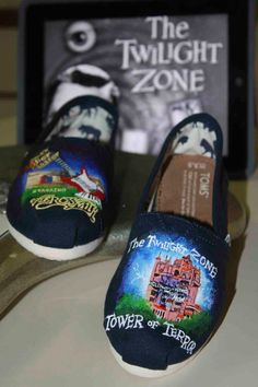 Limited Time Sale Tower of Terror Rock'n Rollercoaster Custom painted Disney TOMS or Vans Artwork Only shoes not included on Etsy, $100.00