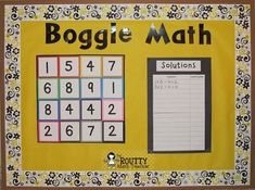 The Routty Math Teacher: Transformation Tuesday: Critical Thinking Activities- Math Boggle Board Math Boggle, Boggle Board, Math Bulletin Boards, Math Boards, Interactive Bulletin Boards, Elementary Bulletin Boards, Multiplication Strategies, Preschool Bulletin, Games
