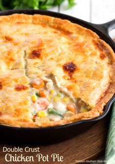 """This Double Crust Chicken Pot Pie is made using one of my favorite kitchen tools, my cast iron skillet. I really don't know what I would do without my cast iron skillets they are my """"go to"""" when it comes to pans in my kitchen. They hold and distribute t Cast Iron Skillet Cooking, Iron Skillet Recipes, Cast Iron Recipes, Skillet Chicken Pot Pie Recipe, Chicken Pot Pies, Skillet Dinners, Double Crust Chicken Pot Pie Recipe, Cooking With Cast Iron, Cast Iron Chicken Recipes"""