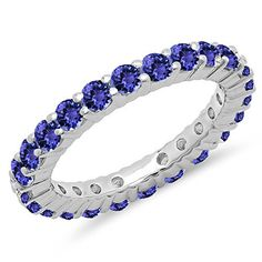1.00 Carat (ctw) 14K Gold Round Tanzanite Ladies Eternity Wedding Anniversary Stackable Band 1 CT -- You can get more details at http://www.amazon.com/gp/product/B01BZSD3PY/?tag=splendidjewelry07-20&pde=190716222809