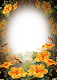 Surrounded with Yellow~~J Flower Background Wallpaper, Frame Background, Flower Backgrounds, Wallpaper Backgrounds, Happy Birthday Frame, Birthday Frames, Flower Frame, Flower Art, Cadre Design