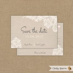 DIGITAL Lace & Linen Wedding Engagement Save the by ChubbySparrow