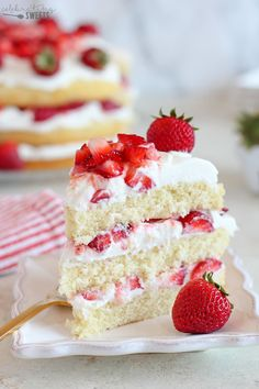 Strawberry Shortcake Cake - A fluffy vanilla sponge cake filled with layers of whipped cream frosting and juicy strawberries. The classic flavors of strawberry shortcake in a rustic, yet elegant layer cake. Strawberry Cream Cakes, Strawberry Shortcake Recipes, Strawberry Cake Recipes, Strawberries And Cream, Strawberry Filling For Cake, Strawberry Sponge Cake, Strawberry Shortcake Birthday Cake, Fruit Sponge Cake, Strawberry Sweets