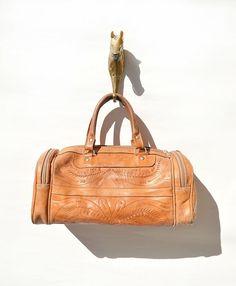 """Vintage Handtooled Leather Bag. Unique coloration. 13"""" x 6"""" x 6"""""""