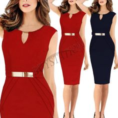 Elegant Women Celeb Cocktail Wear to Work Business Bodycon Summer Pencil Dresses #Fashion #StretchBodycon