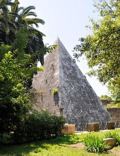 The Pyramid of Cestius is an ancient pyramid in Rome, Italy, near the Porta San Paolo and the Protestant Cemetery. The pyramid was built about 18 BC–12 BC as a tomb for Gaius Cestius, a magistrate and member of one of the four great religious colleges in Rome, the Septemviri Epulonum.