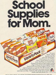 Frito Lay Ad - School Supplies for Mom. Retro Ads, Vintage Advertisements, Vintage Ads, Vintage Food, Retro Advertising, Vintage Stuff, 1970s Childhood, My Childhood Memories, Retro Recipes