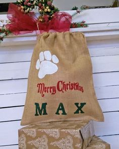 Picture of Pet Stocking Christmas Bag Burlap Pouch Personalized Paw Hessian Dog Lovers