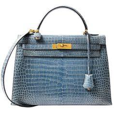 Rare Hermes Blue Jean Porosus Crocodile 32 Kelly GHW ($49,700) ❤ liked on Polyvore featuring bags, handbags, hermes, blue purse, hermes handbags, blue handbags, crocodile bag and crocodile purse