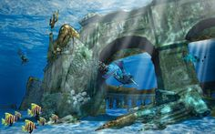 Dive Into The World's Largest (And Greenest!) Underwater Theme Park ~ Believe it or not,. it is in Dubai'. Not sure about visiting Dubai' at anytime soon, but wow. Atlantis Bahamas eat your heart out. Coral Reef Ecosystem, Underwater Wallpaper, Dubai Tourism, Sunken City, Underwater City, Parking Design, Lost City, Under The Sea, Under The Water