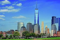 Perfect Together - N.J and One World Trade by Regina Geoghan Manhattan Skyline, Lower Manhattan, New York Skyline, Liberty Island, Blue Artwork, One World Trade Center, Perfect Together, Ellis Island, New York Central